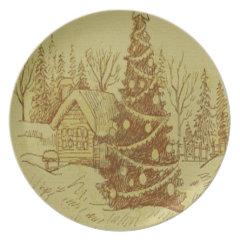 Vintage Christmas Tree Dinner Plate