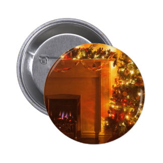 Vintage Christmas Tree Fireplace 2 Inch Round Button