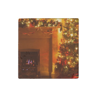 Vintage Christmas Tree Fireplace Stone Magnet
