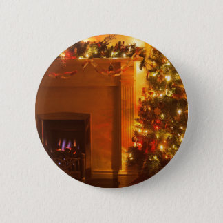 Vintage Christmas Tree Fireplace Pinback Button
