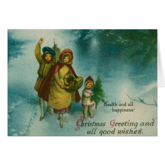 Vintage Christmas Tree Gathering Card