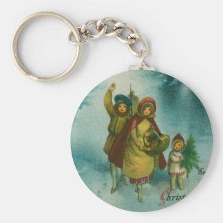 Vintage Christmas Tree Gathering Keychain