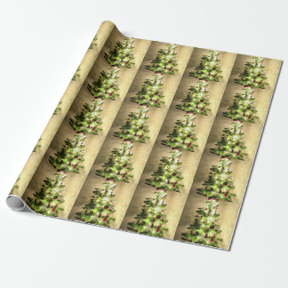 Vintage Christmas Tree Glossy Wrapping Paper