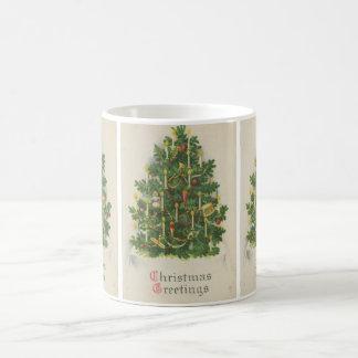 Vintage Christmas Tree Greetings Coffee Mug