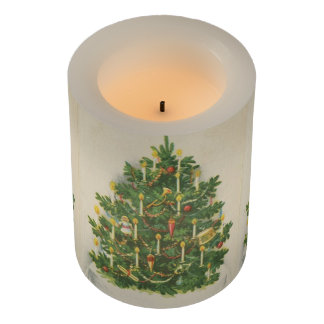 Vintage Christmas Tree Greetings Flameless Candle