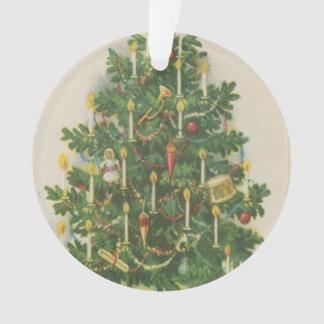 Vintage Christmas Tree Greetings Ornament