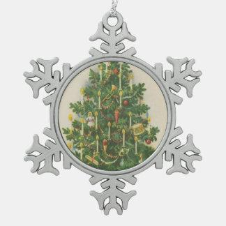 Vintage Christmas Tree Greetings Snowflake Pewter Christmas Ornament