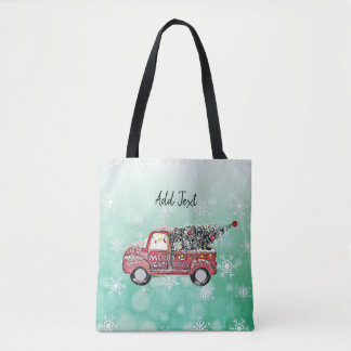Vintage Christmas Tree in Truck with Lights Tote Bag