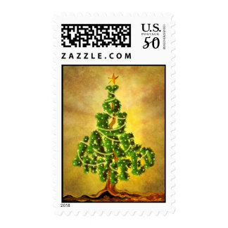 Vintage Christmas tree invitation postage