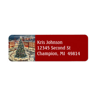 Vintage Christmas Tree Lighting Village Town Label