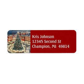 Vintage Christmas Tree Lighting Village Town Label Return Address Label