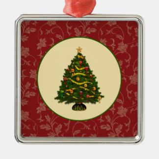 Vintage Christmas Tree Metal Ornament