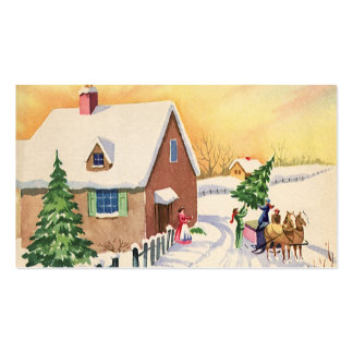 Vintage Christmas Tree on a Snowy Winter Road Double-Sided Standard Business Cards (Pack Of 100)