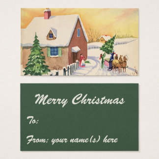 Vintage Christmas Tree on a Snowy Winter Road Business Card