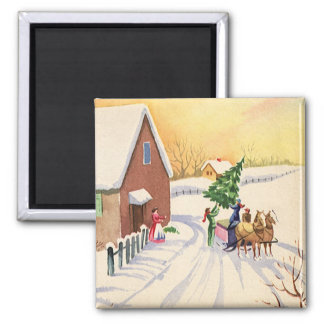Vintage Christmas Tree on a Snowy Winter Road Magnet