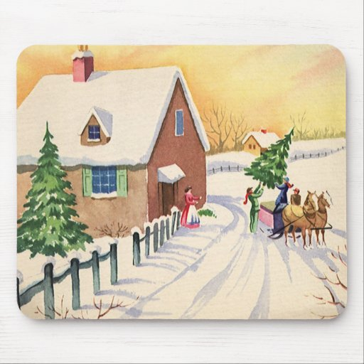 Vintage Christmas Tree on a Snowy Winter Road Mouse Pad