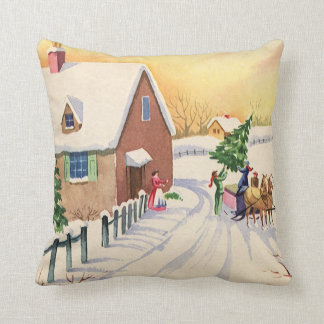 Vintage Christmas Tree on a Snowy Winter Road Pillows