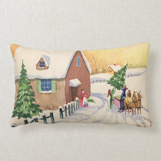 Vintage Christmas Tree on a Snowy Winter Road Throw Pillows
