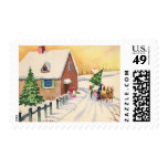 Vintage Christmas Tree on a Snowy Winter Road Postage Stamp