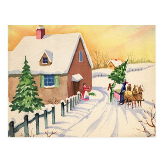 Vintage Christmas Tree on a Snowy Winter Road Post Cards