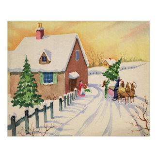 Vintage Christmas Tree on a Snowy Winter Road Poster