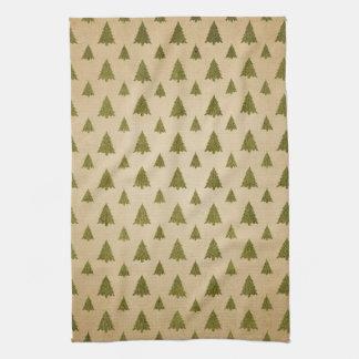 Vintage Christmas Tree Pattern Towel