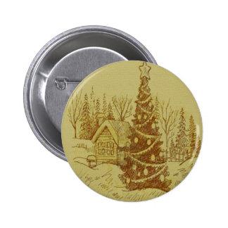 Vintage Christmas Tree Pinback Buttons