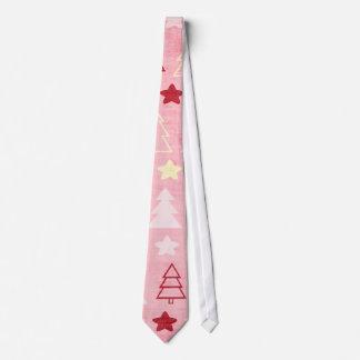 Vintage Christmas Tree Pink Silky Mens'  Tie