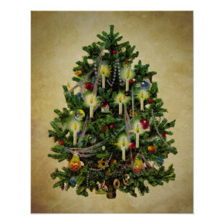 vintage christmas tree poster