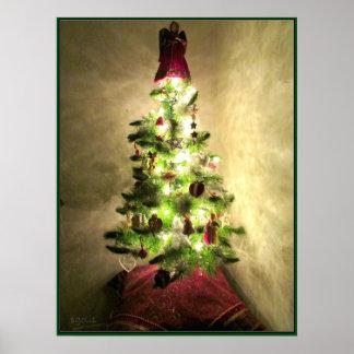 Vintage Christmas Tree Poster Print