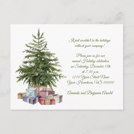 Vintage Christmas Tree Presents Holiday Party Postcard