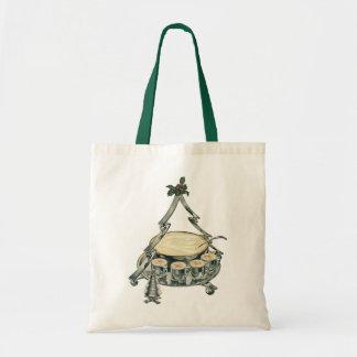 Vintage Christmas Tree Punch Bowl with Eggnog Tote Bag