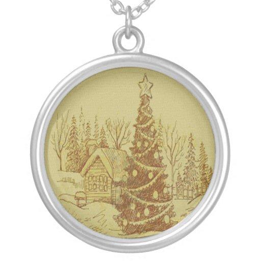 Vintage Christmas Tree Round Pendant Necklace