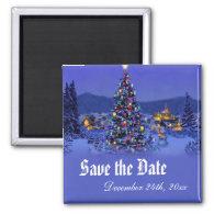 Vintage Christmas tree save the date wedding Fridge   Magnet