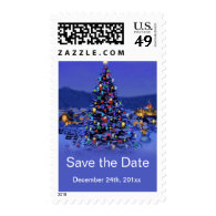 Vintage Christmas tree save the date wedding   Stamps