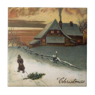 Vintage Christmas Tree Scene Ceramic Tile