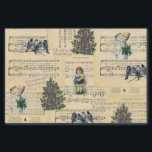 """Vintage Christmas Tree Snowman Music Tissue Paper<br><div class=""""desc"""">A collage of vintage illustrations and sheet music pertaining to Christmas. Includes an illustration of a little girl,  a snowman,  a christmas tree,  and blue winter birds.</div>"""