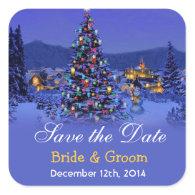 Vintage Christmas tree snowy night save the date Square   Sticker