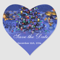 Vintage Christmas tree snowy night save the date Heart   Stickers