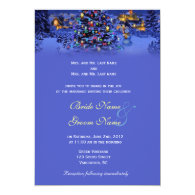 Vintage Christmas tree snowy night wedding Personalized   Announcements