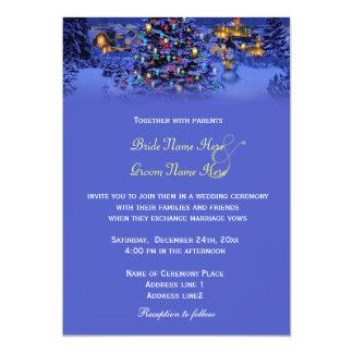 Vintage Christmas tree snowy night wedding Announcement