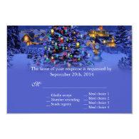 Vintage Christmas tree snowy night wedding RSVP Custom   Invites