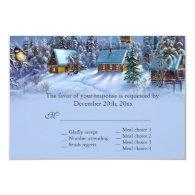 Vintage Christmas tree snowy world wedding RSVP   Announcement