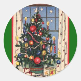 Vintage Christmas Tree Round Sticker