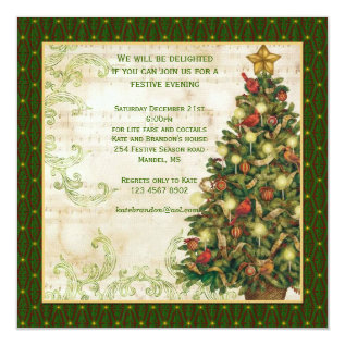 Vintage Christmas tree, swirls party Invitation at Zazzle