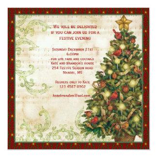 Vintage Christmas tree, swirls party Invitation