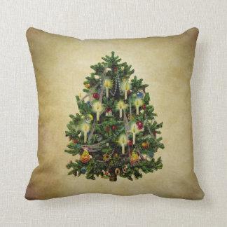 vintage christmas tree throw pillow