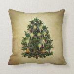 vintage christmas tree throw pillows