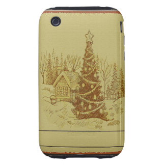 Vintage Christmas Tree Tough iPhone 3 Cover