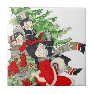 Vintage Christmas Tree Tradition Trivet Tiles